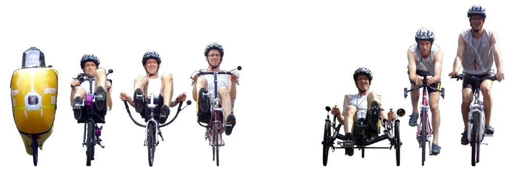 Surfaces frontales comparées de vélos couchés