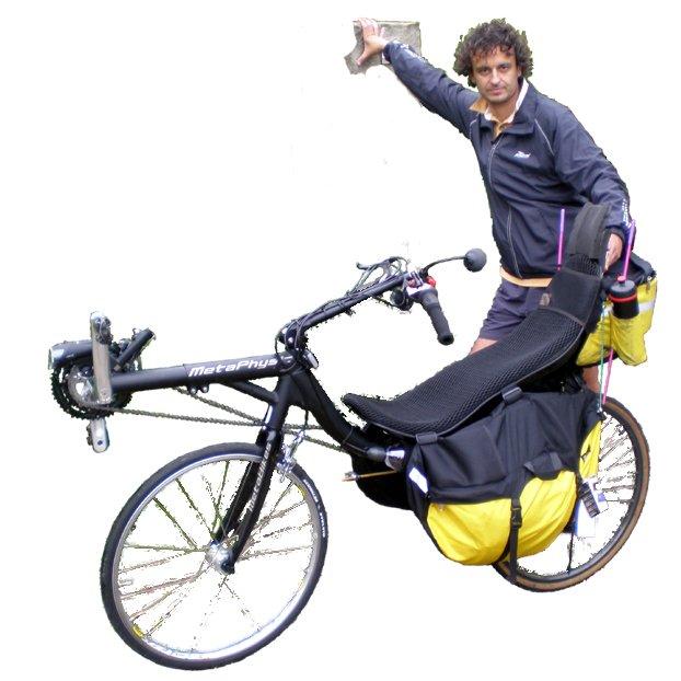 """Vélo couché Metaphrastic 26"""" avec sacoches"""