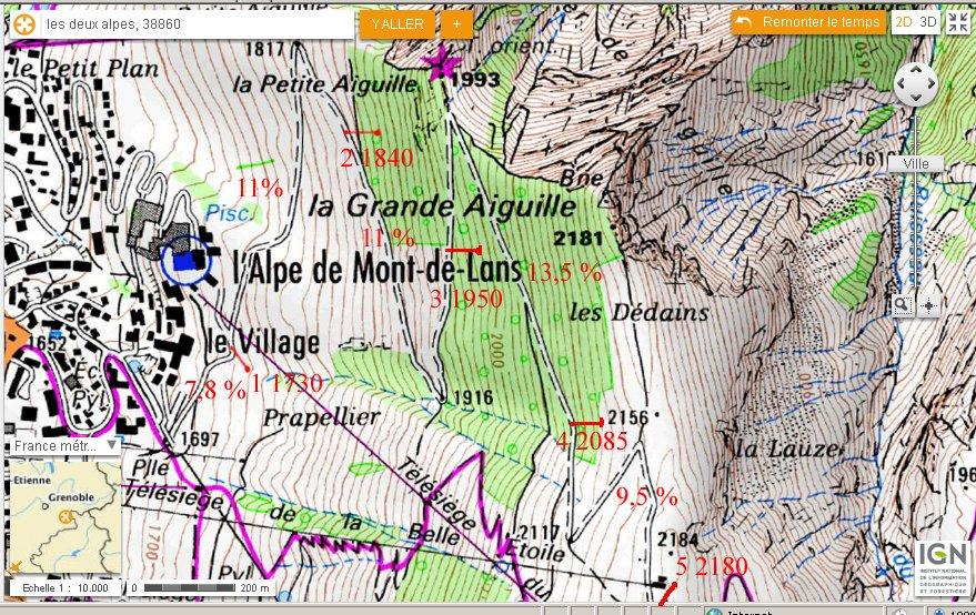 De l'Alpe de Mont de Lans 1657 m à La Séa 2180 m