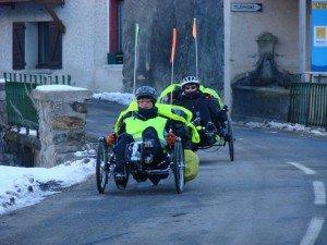 Tricycles couchés en hiver