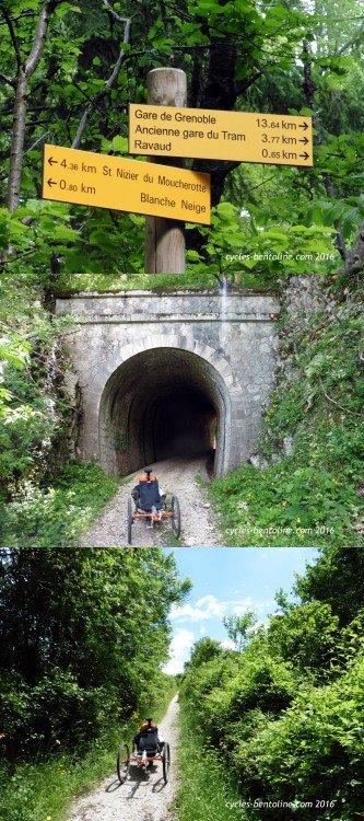Descente sur Grenoble en suivant l'ancienne ligne de tramway qui comporte deux petit tunnels