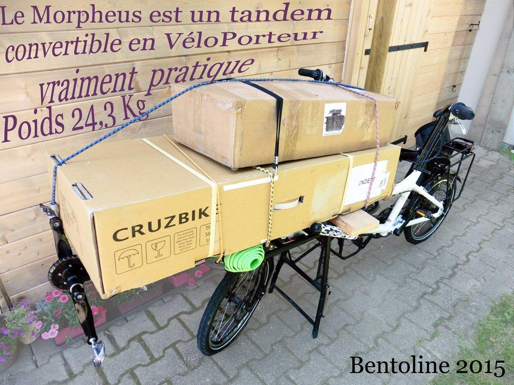 Cycle Bentoline utilise ce Tandem convertible très pratique et rigide pour les expéditions