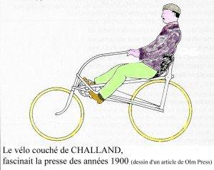 Vélo couché (assis) de CHALLAND 1897