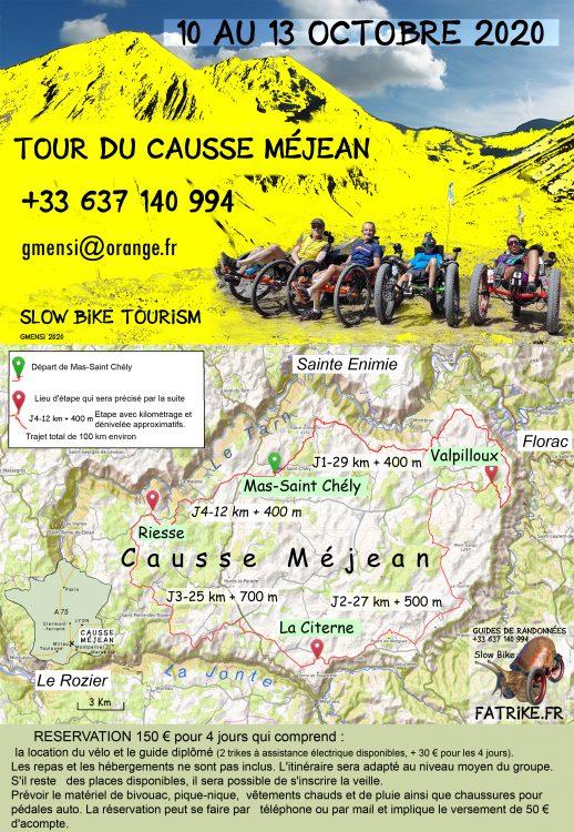 Contact réservation du tour du causse Méjean en Fatrike du 10 au 13 octobre 2020 ainsi que la carte de l'itinéraire